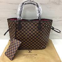 Сумка реплика Louis Vuitton Neverfull | луи витон неверфул с косметичкой | LV ЛВ (0209) Коричневый