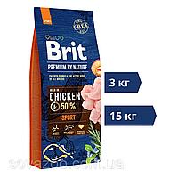 Корм Brit Premium by Nature Sport Брiт Преміум Спорт для собак всіх порід 15 кг   3 кг