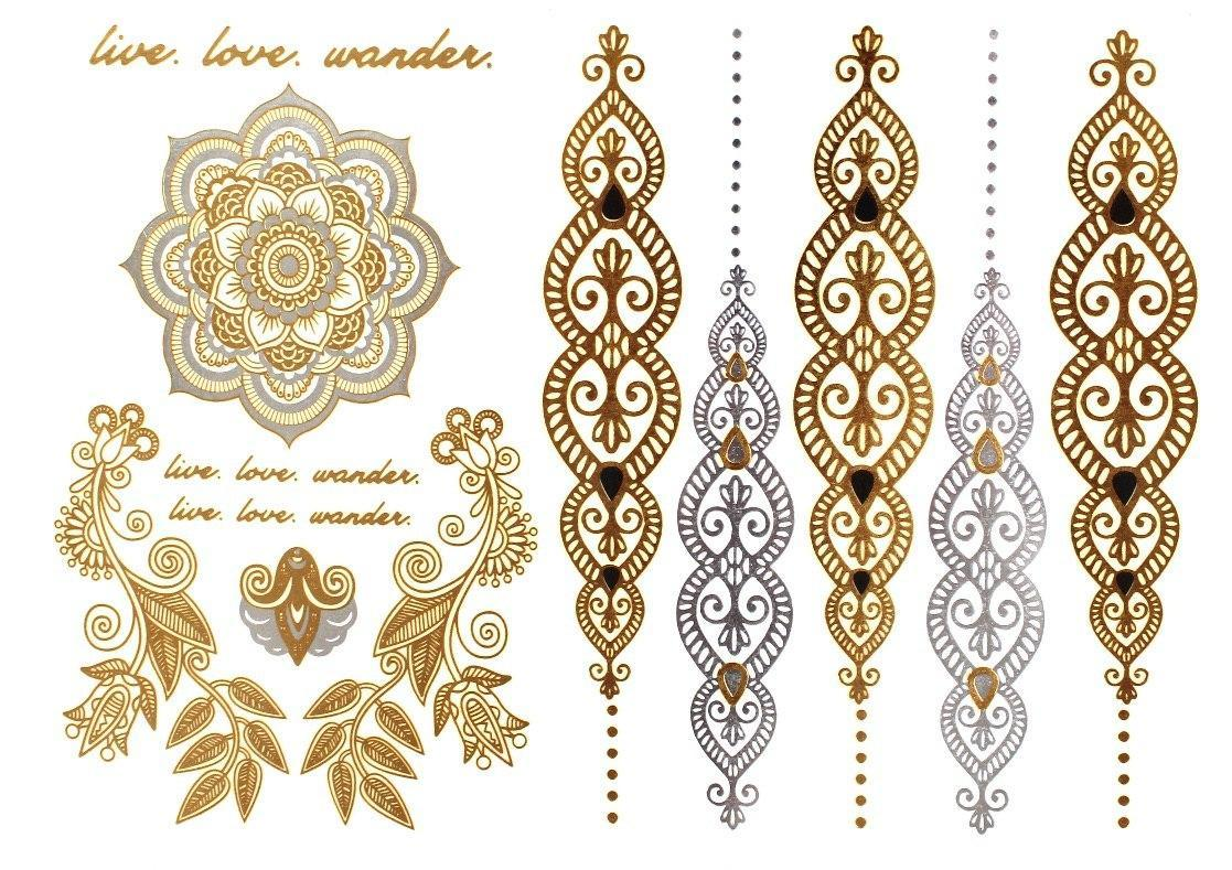 Бодиарт FAMO Тату Золотые браслеты One size (YH-021)