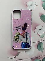 Силиконовый чехол с принтом для Apple iPhone 11 Pro (5,8) Девушка с цветами