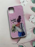 Силиконовый чехол с принтом для Apple iPhone 11 (6,1) Девушка с цветами