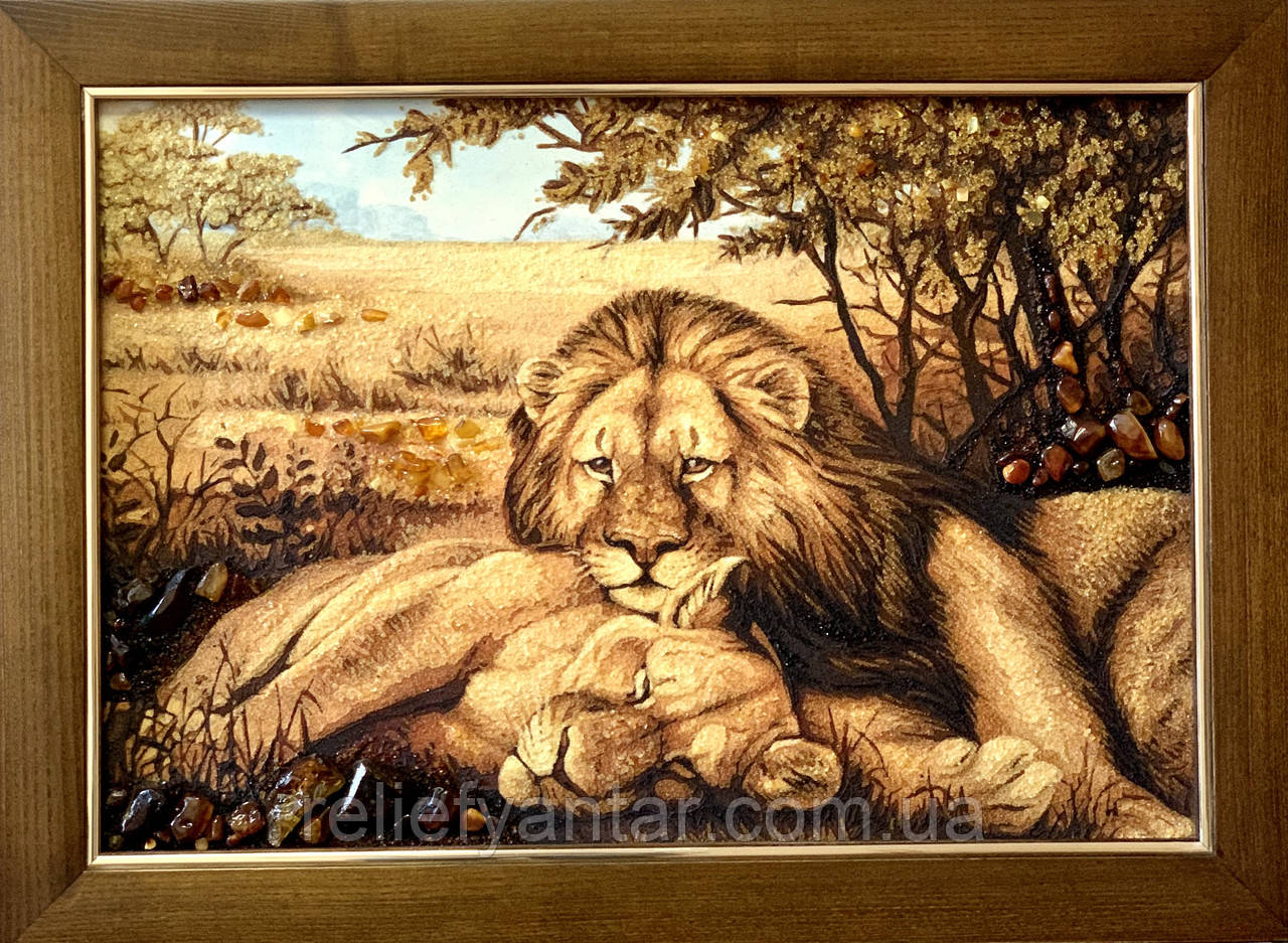 "Картина з янтаря "" Пара львов "" 40x60 см"