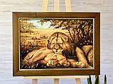 """Картина з янтаря """" Пара львов """" 40x60 см, фото 2"""
