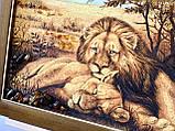 """Картина з янтаря """" Пара львов """" 40x60 см, фото 4"""