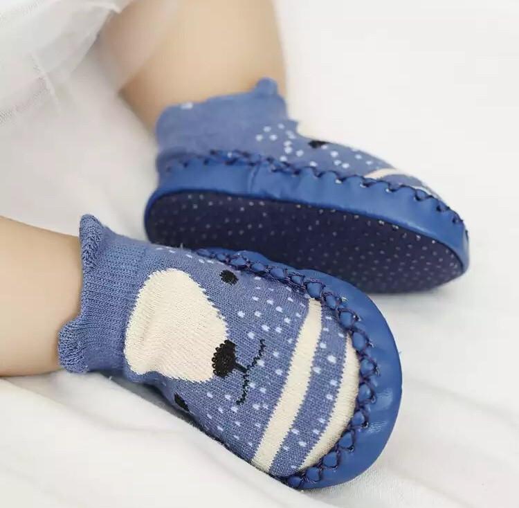 Дитячі шкарпетки з АНТИКОВЗАЮЧИЙ ПІДОШВОЮ синій колір (CM-13)