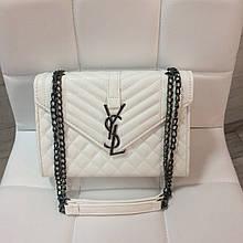 Сумка в стиле ИСЛ стеганая фактура   клатч Ив Сен Лоран (0182) Белый