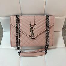 Сумка в стиле ИСЛ стеганая фактура   клатч Ив Сен Лоран (0182) Розовый