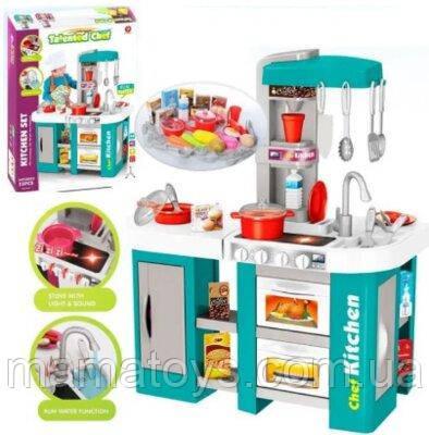 Детская игровая Кухня из крана течет вода 922-46  Бирюзовая  Духовка, холодильник, свет, звук