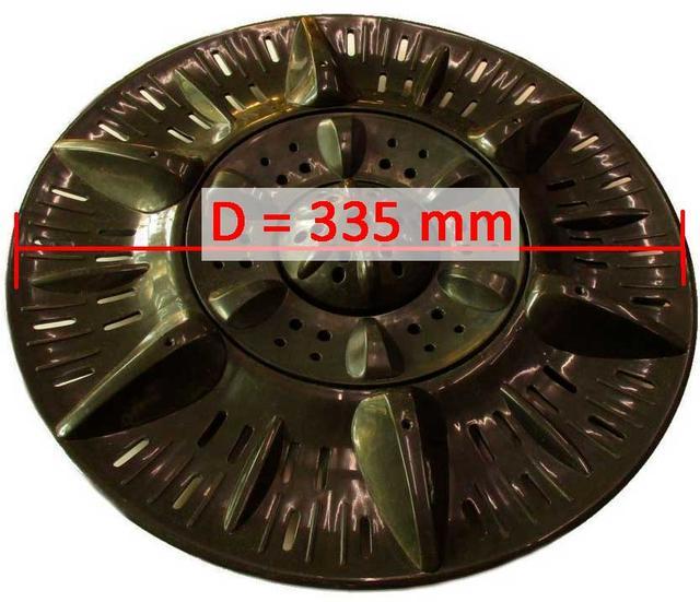 Активатор бака стирки S1=9x9 D=335 H=55 для стиральных машин полуавтомат