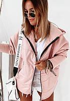 Женская куртка с капюшоном трехнитка и плащевка (розовый, хаки, черный, С, М, Л, ХЛ)