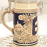 Немецкая пивная кружка, керамический бокал для пива с оловянной крышкой, Германия, 350 мл, фото 5