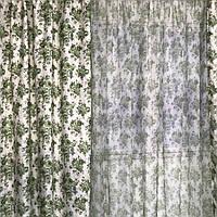 Шторы цветочные прованс атласные 150x270 cm (2 шт) с тюлью ALBO Зелёные (SH-631-4)