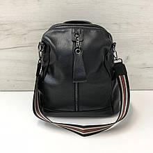 Женский рюкзак с широким ремнем спереди / натуральная кожа (2813) Черный