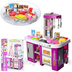 Детская игровая Кухня из крана течет вода 922-47 Малиновая, Духовка, холодильник, свет, звук