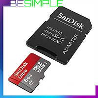 Карта памяти 8 Гб с адаптером / SanDisk MicroSDHC 8Gb Class 10