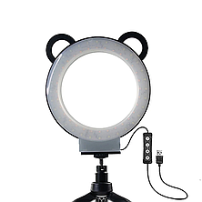 Кольцевая светодиодная лампа с ушками для детей Mount Dog на штативе c держателем для телефона, фото 3
