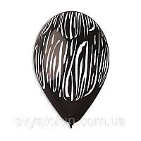 """Латексные воздушные шарики Зебра 12""""(30см) 100шт/уп Gemar"""