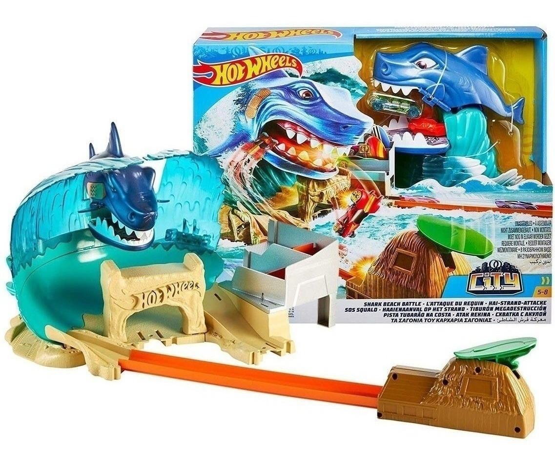 Hot Wheels Трек Сутичка з  акулою Shark Beach Battle Play Set FNB21 Схватка с акулой