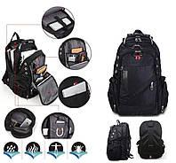 Швейцарский городской вместительный рюкзак  WENGER SwissGear 8810 black , дождевик, USB, разъёмом под наушники
