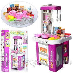 Детская игровая кухня Из крана течет вода  922-49 Малиновая Звук, свет, духовка, 49 Предметов Высота 72 см