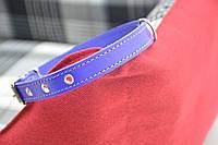 Ошейник для собак кожаный прямой фиолетовый