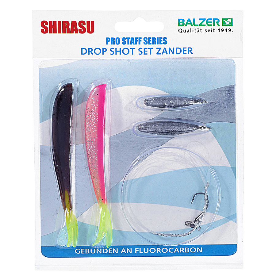 Оснастка Balzer Drop Shot Zander SET fluorocarbon 1.5m/0.35mm, крючок №1, 10+15гр, 2 силикон. прим