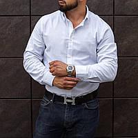 Рубашка мужская льняная белая повседневная | деловая Премиум качества
