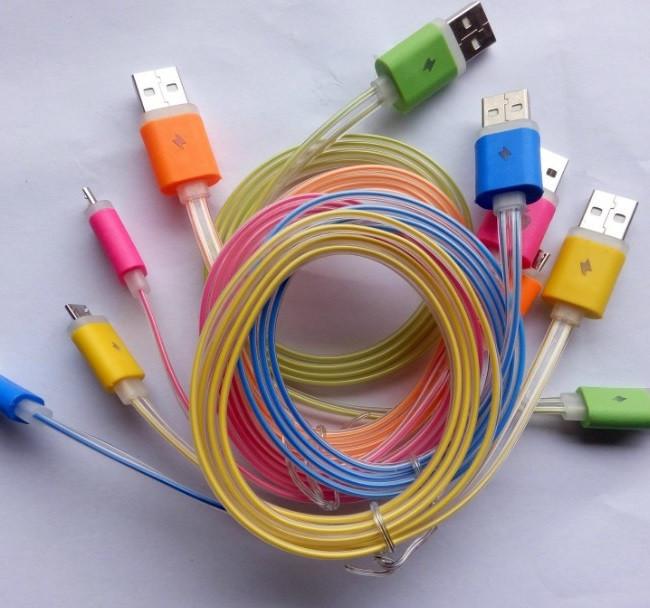 Світиться Кабель Micro USB Шнур Зарядки Плоский