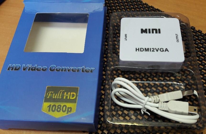 Преобразователь Конвертер HDMI в VGA Адаптер Аудио с Питанием