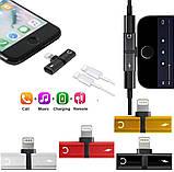 Splitter Double Lightning 2 в 1 Наушники и Зарядка iPhone 7 8 Plus Адаптер Сплиттер Переходник Разветвитель, фото 3