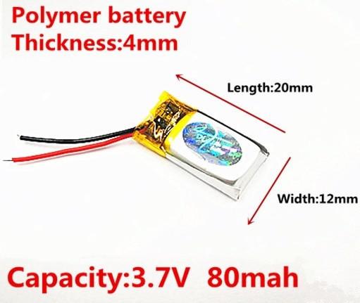 Батарея 80mah 3.7V 401220 Литий-Полимер Аккумулятор для Bluetooth Гарнитуры