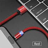 Магнітний Кабель USLION iPhone 5 6 7 8 10 USB 2A Шнур з Підсвічуванням Посилений Круглий, фото 2
