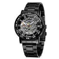 Наручные часы Winner 8012 Diamonds Automatic Black-Silver, фото 1
