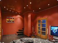 Бордовый натяжной потолок