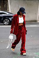 Классический модный велюровый, бархатный костюм брюки, пиджак женский 42-74+батал, фото 1
