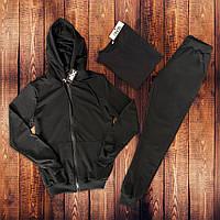 Спортивный костюм мужской с капюшоном трикотажный Boss черный | ТОП качества