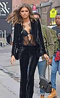 Класичний модний велюровий, оксамитовий костюм штани, піджак жіночий 42-74+батал
