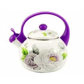 Чайник эмалированный Interos VIOLET HANDLE РОЗА 2,2 л со свистком пластиковая ручка 2/L (79574) ITR