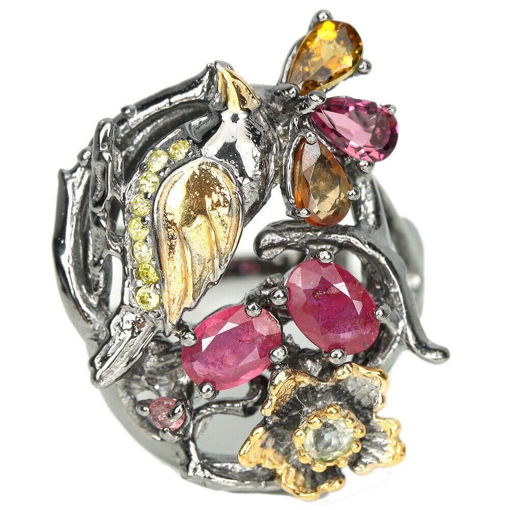 Серебряное кольцо с рубином и турмалином, фигурка птичка, 1472КР