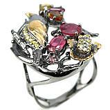Серебряное кольцо с рубином и турмалином, фигурка птичка, 1472КР, фото 2