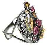 Серебряное кольцо с рубином и турмалином, фигурка птичка, 1472КР, фото 3