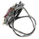 Серебряное кольцо с рубином и турмалином, фигурка птичка, 1472КР, фото 4