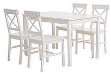 Комплект кухонный компактный белый Массив сосны и шпон (стол 120 см + 4 стула)