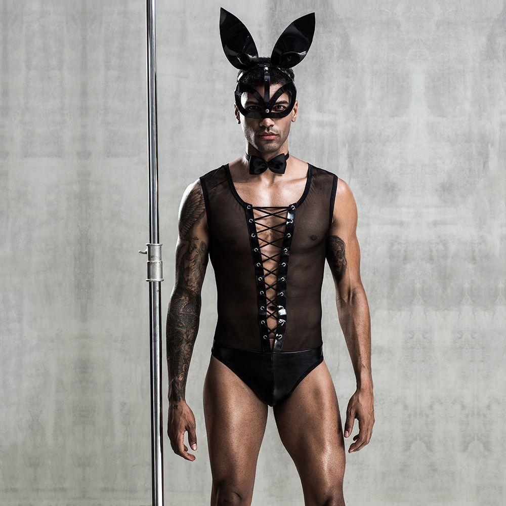 Эротический мужской костюм Зайка Джонни с маской