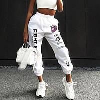Трендовые женские спортивные штаны на резинке с яркими надписями, турецкая двухнитка, цвет белый, р.S/M/L/