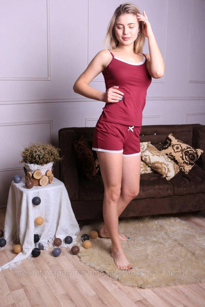 """Практичная однотонная женская пижама с майкой и шортами """"Трикс"""""""