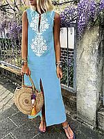 """Стильное летнее женское льняное платье без рукава больших размеров """"Трина"""""""