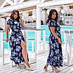 Элегантное летнее женское длинное платье на запах  больших размеров, красивая батальная одежда на лето, фото 2
