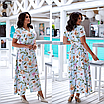 Элегантное летнее женское длинное платье на запах  больших размеров, красивая батальная одежда на лето, фото 3