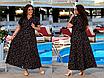 Элегантное летнее женское длинное платье на запах  больших размеров, красивая батальная одежда на лето, фото 6